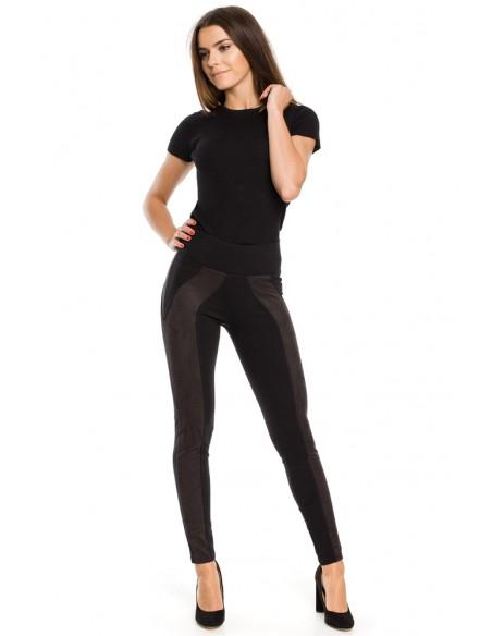 Legginsy damskie z zamszowymi wstawkami - czarne