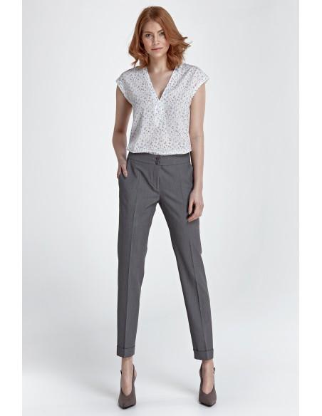 Spodnie z mankietami - szare