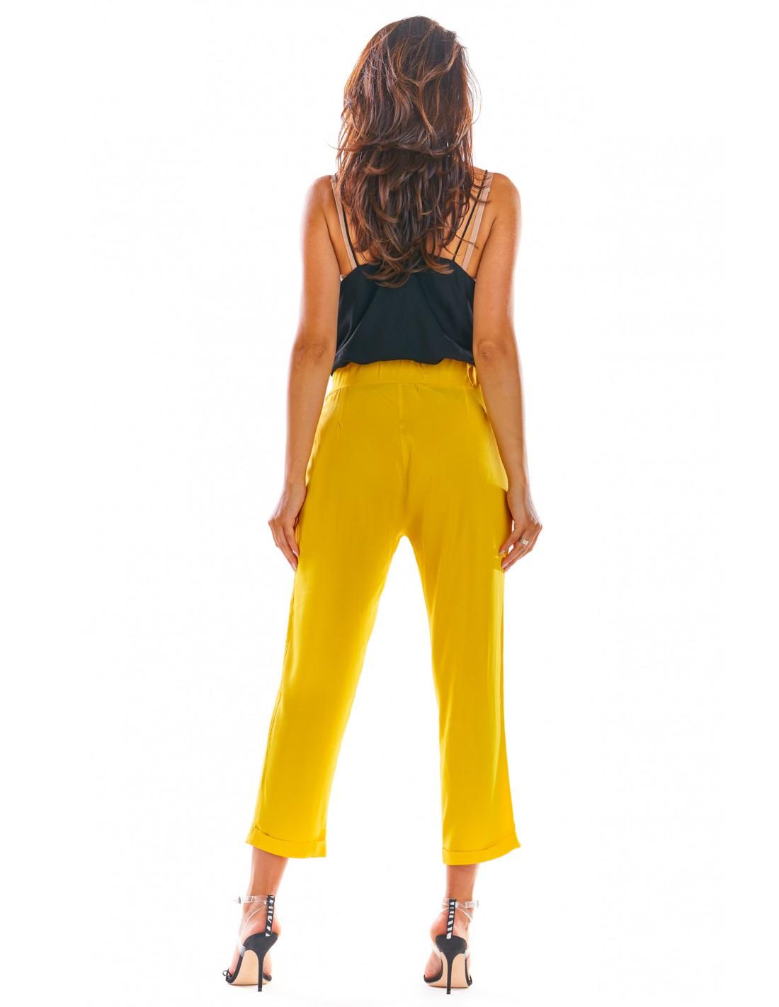 Luźne spodnie z wiązaniem w pasie żółte Rozmiar 36 (S)