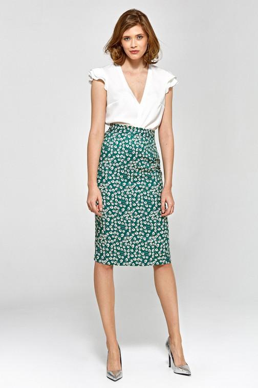 Szara spódnica w zielone liście oraz kwiaty   Sklep