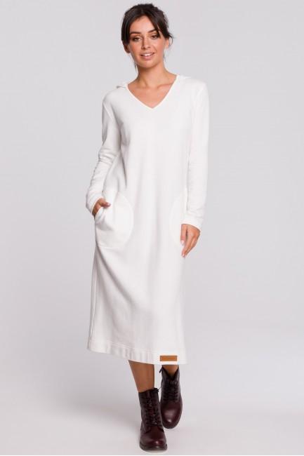 Sukienka maxi z kapturem - ecru