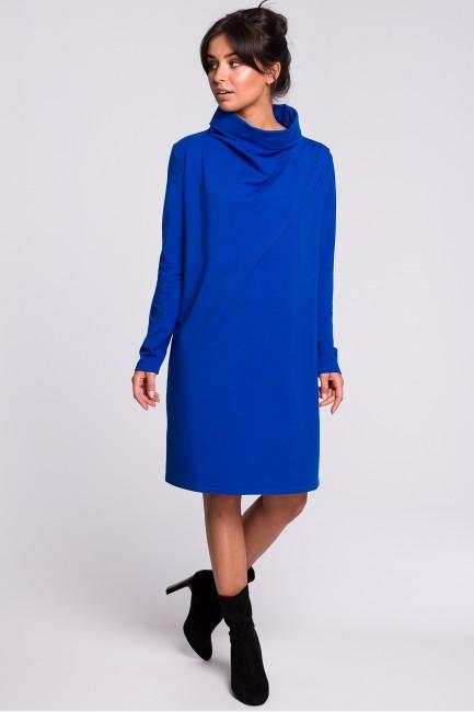 Sukienka z wysokim kołnierzem - chabrowa