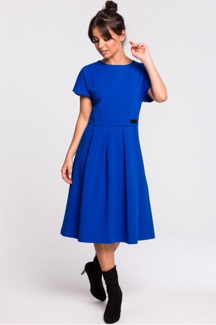 Sukienka midi warstwowa - chabrowa