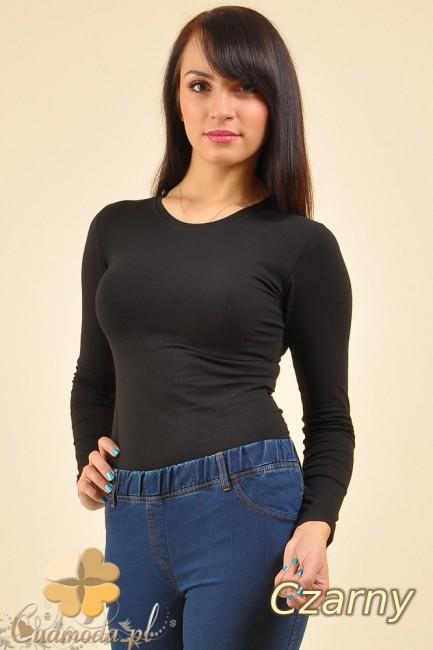 Gładka bluzka z długim rękawem - czarna