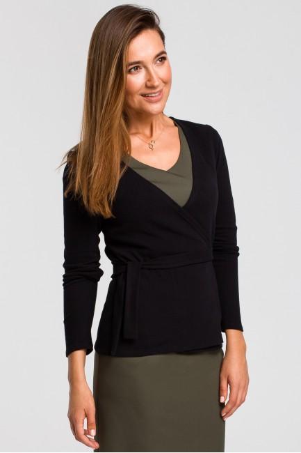 Sweterek kopertowy wiązany na zakładkę - czarny