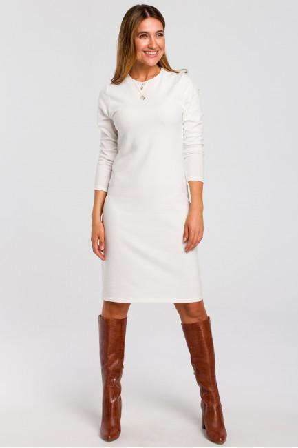 Sukienka swetrowa z długim rękawem - ecru