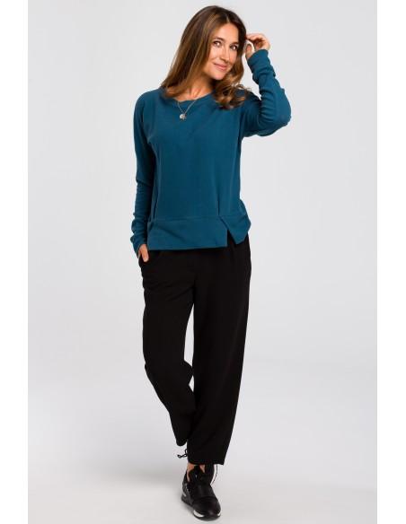 Sweterek z rozcięciami na dole - morski