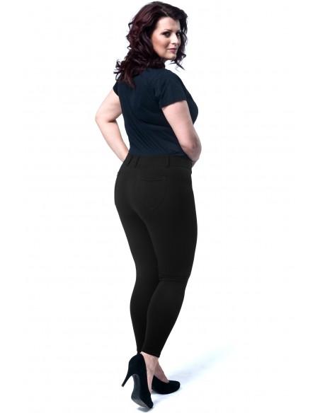 Eleganckie dopasowane legginsy damskie z kieszeniami z tyłu - czarne