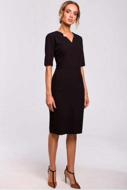 Sukienka z dekoltem V - czarna