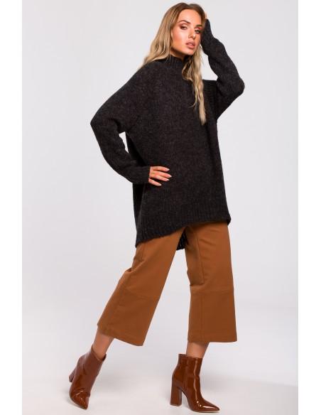 Asymetryczny sweter z półgolfem - grafitowy