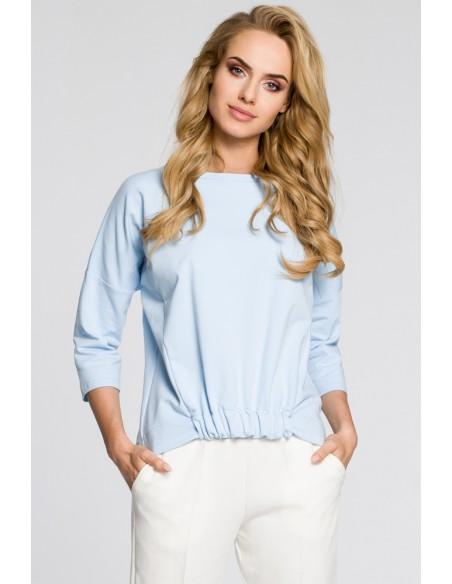 Luźna bluzka z rękawami typu nietoperz - błękitna