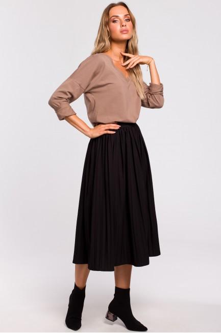 Plisowana spódnica midi - czarna