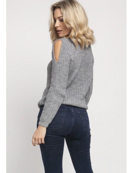 Raglanowy sweter z wycięciami na rękawach - szary