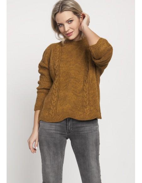 Duży wygodny sweter - musztardowy