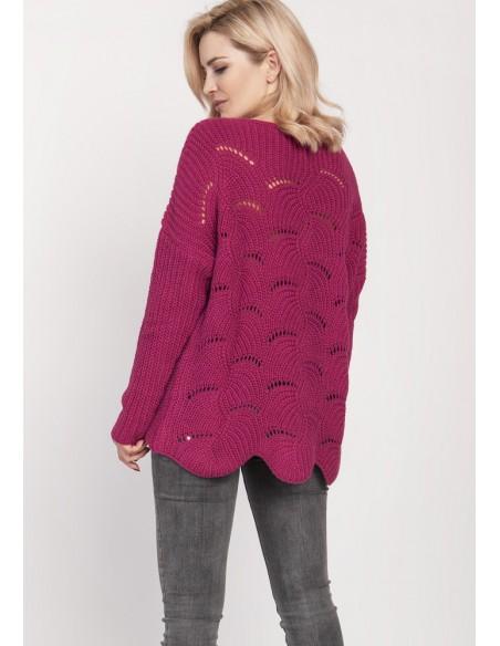 Sweter oversize z szerokim dekoltem - amarantowy