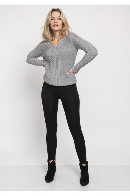 Sweter z dekoltem w serek - szary