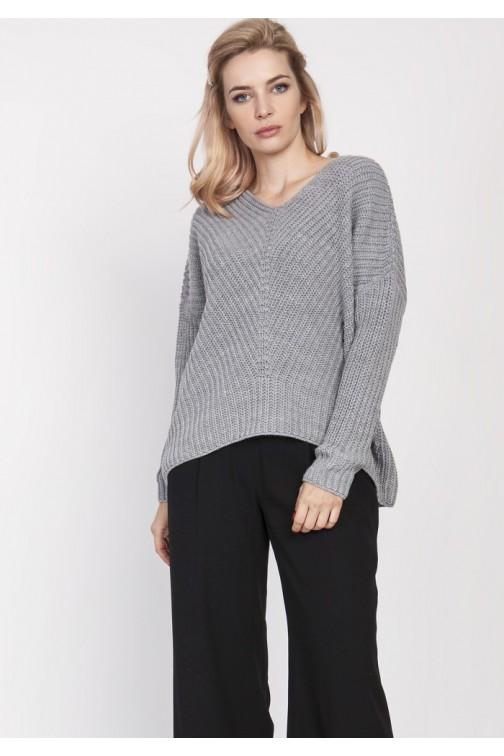 Duży wygodny sweter - szary