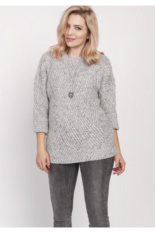 Luźny melanżowy sweter - szary