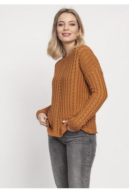 Klasyczny sweter z rękawem drop-sleeve - karmelowy