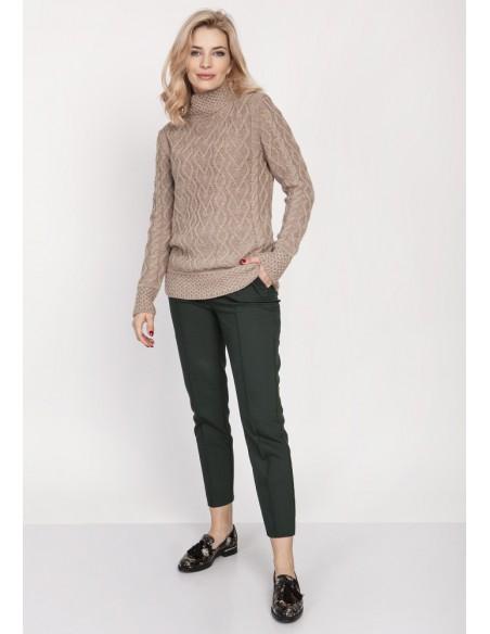 Elegancki sweter z półgolfem - mocca