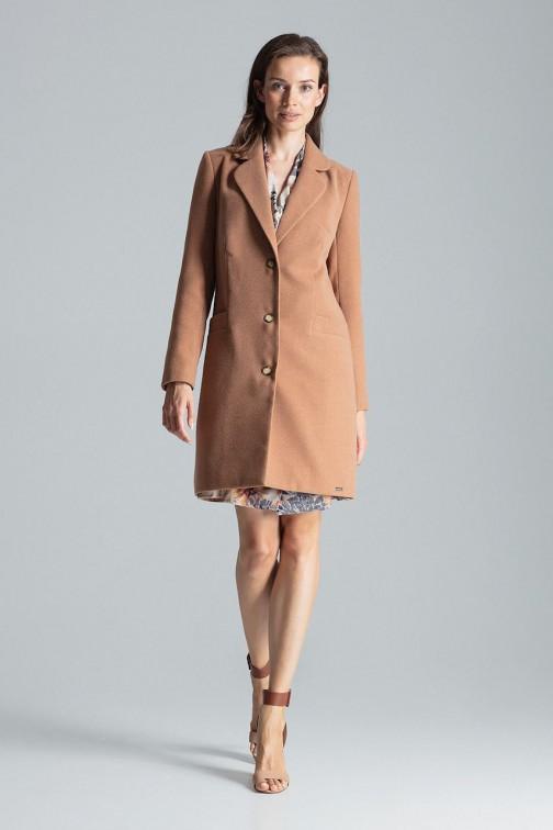 Klasyczny płaszcz zapinany na trzy guziki - beżowy