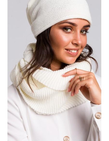 Zestaw - komin + czapka - ecru