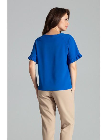 Prosta bluzka z raglanowym rękawem - szafirowa