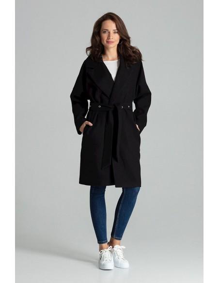 Niezapinany płaszcz wiązany paskiem - czarny