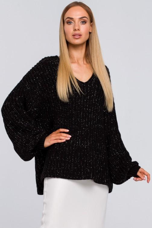 Luźny sweter z dekoltem w serek - czarny