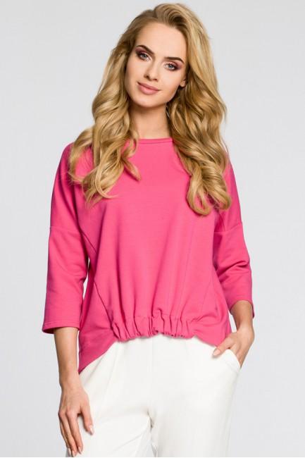 Luźna bluzka z rękawami typu nietoperz - różowa