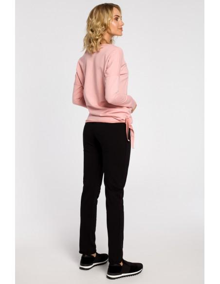 Bluza damska dresowa z ozdobny sercem - różowa