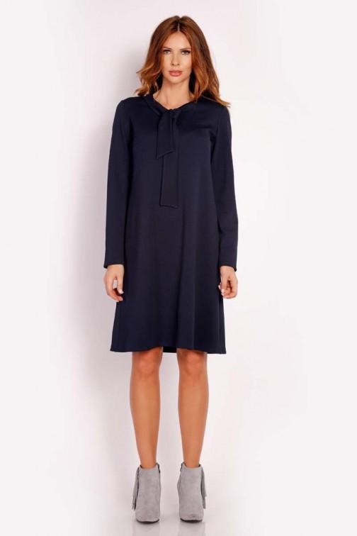 Luźna sukienka z wiązaniem przy szyi - granatowa