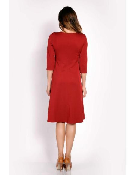 Sukienka z ozdobnymi padkami - bordowa
