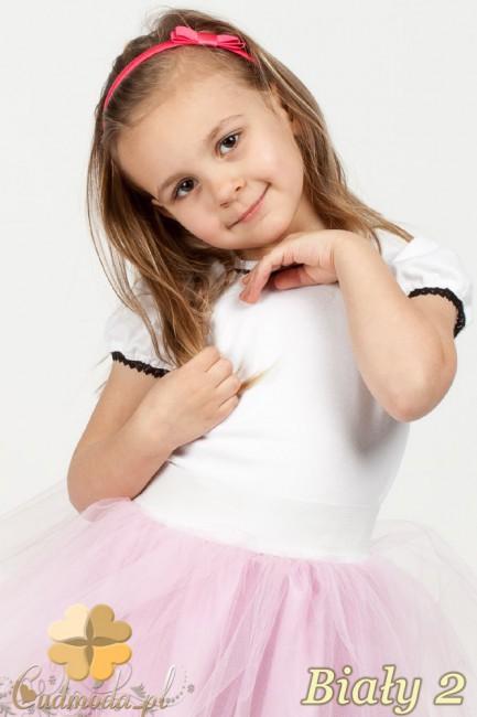 Gładka dziewczęca bluzeczka z koronką - biały 2