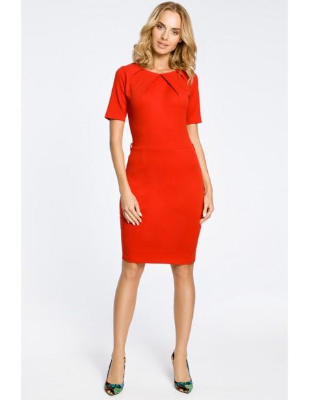 Klasyczna elegancka sukienka ołówkowa - czerwona