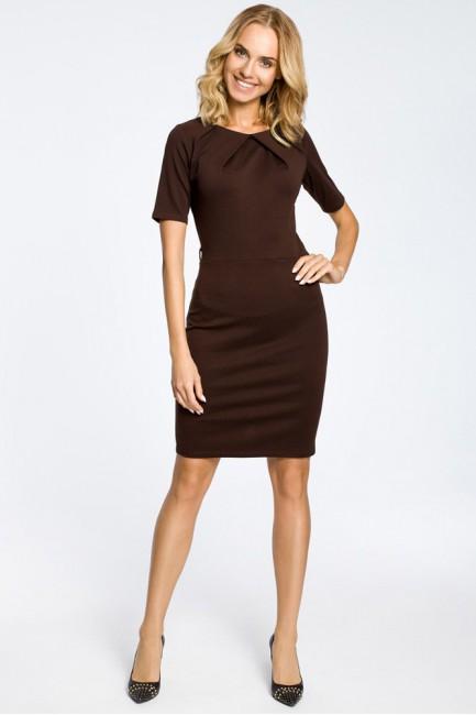 Klasyczna elegancka sukienka ołówkowa - brązowa