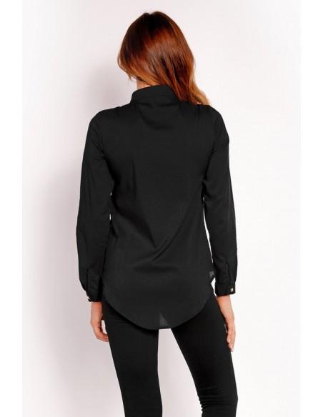 Elegancka koszula ze stójką - czarna