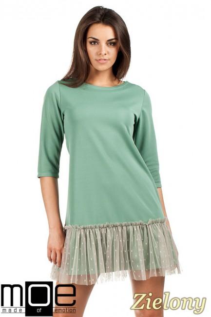 Sukienka tunika z tiulowym dołem - zielona OUTLET