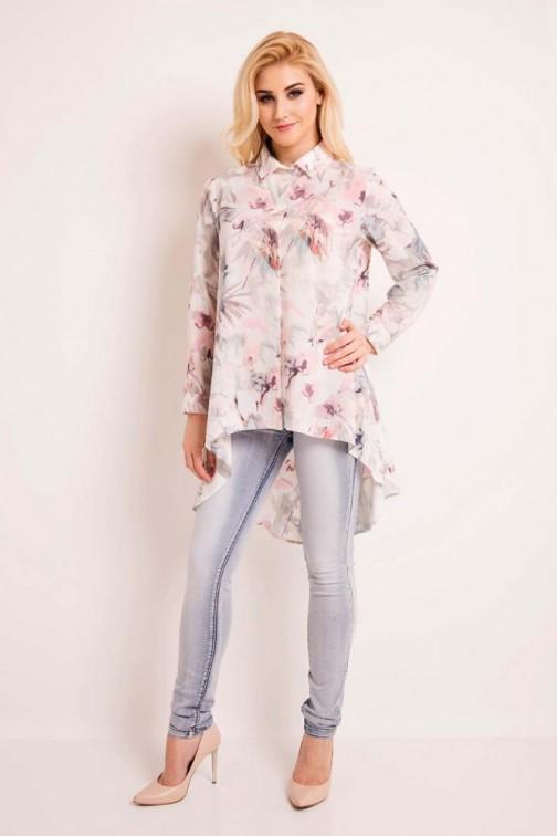Elegancka koszula w kwiaty - ecru