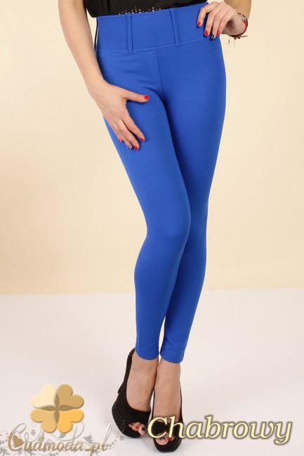 Włoskie, klasyczne legginsy z wysokim stanem - chabrowe