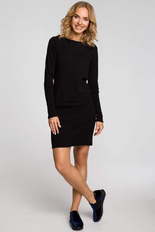 Dopasowana tunika damska z dzianiny dresowej - czarna
