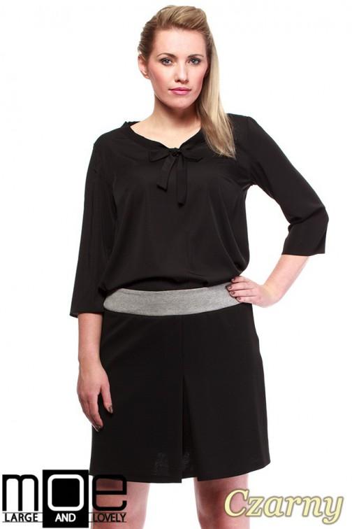 Modna spódnica damska z kontrafałdą - czarna