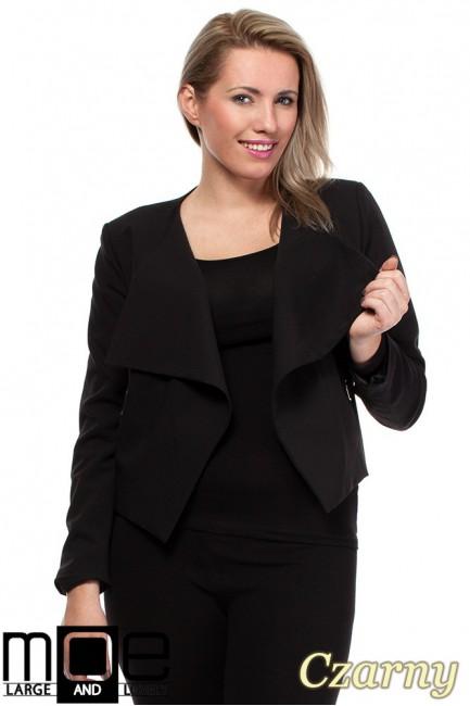 Modny niezapinany żakiet damski - czarny