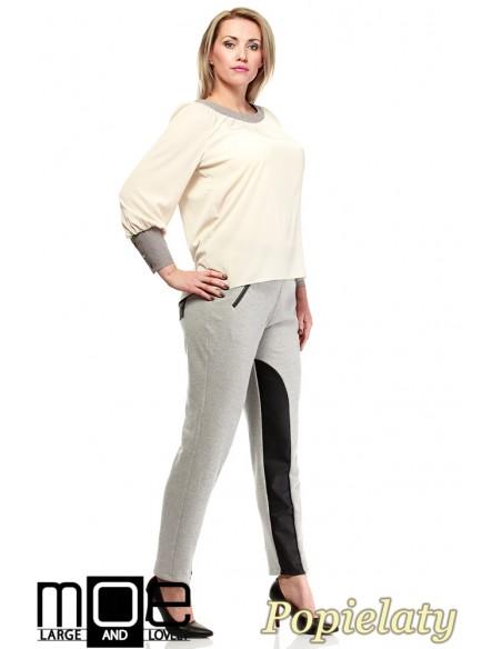 Damskie spodnie bryczesy ze wstawkami z eko-skóry 44-52 - popielate