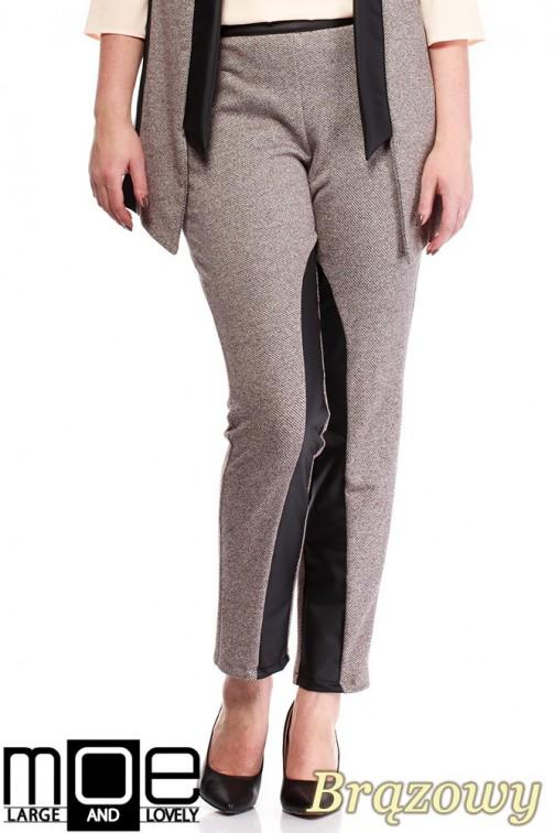 Damskie spodnie bryczesy ze wstawkami z eko-skóry 44-52 - brązowe