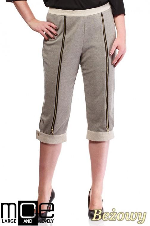 Kobiece spodnie bryczesy ze złotymi zamkami 44-52 - beżowe