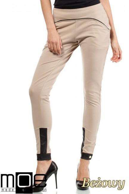 Bawełniane spodnie damskie ze wstawką z eko-skóry - beżowe