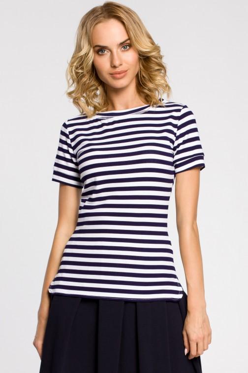 Klasyczna koszulka damska z krótkim rękawem - granatowa