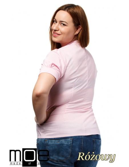 Damska koszula w kratę z krótkim rękawem - różowa