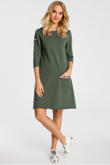 Trapezowa sukienka z kieszenią - miliarno zielona